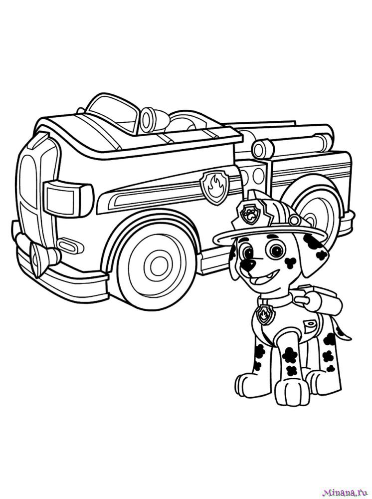 Раскраска Маршал со своей машиной