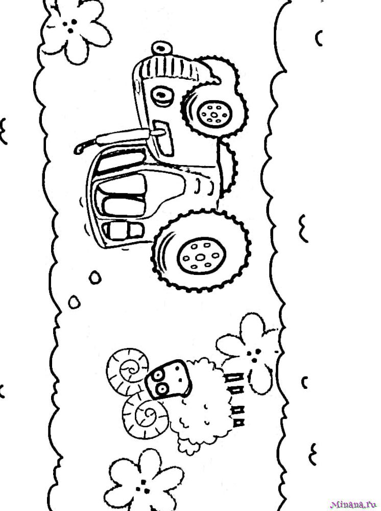 Раскраска Синий трактор 10