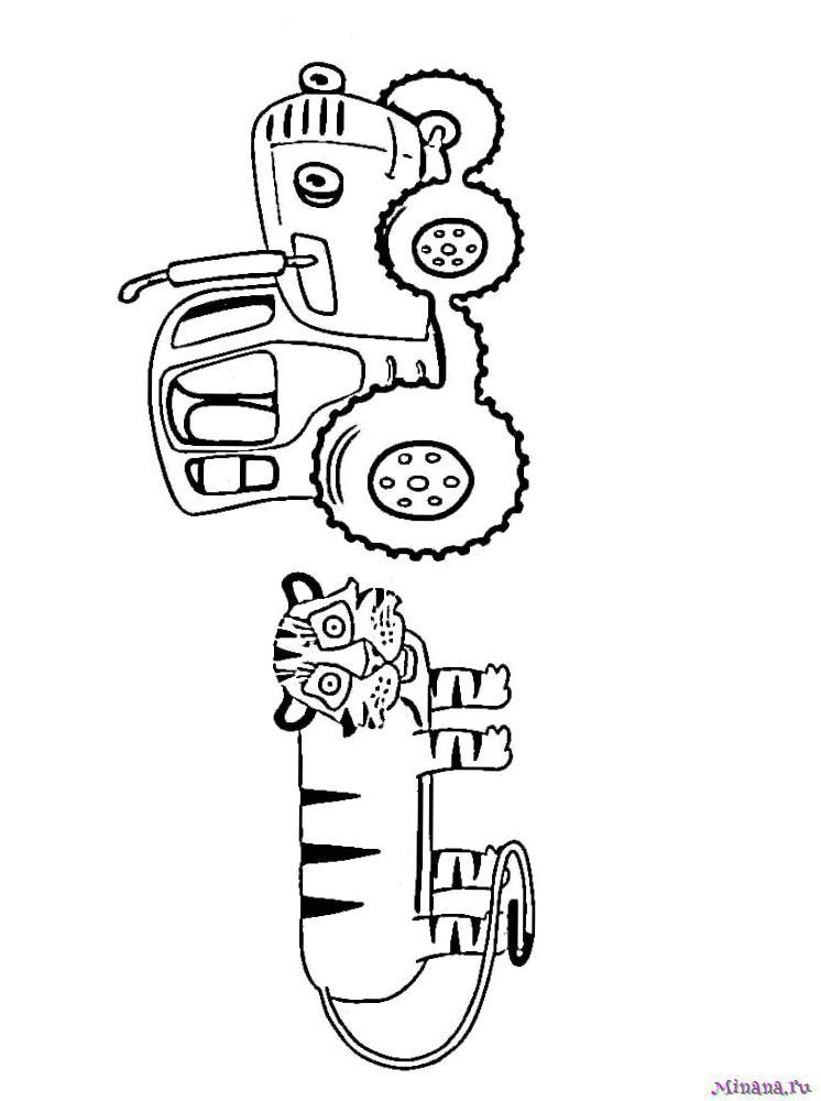 Раскраска Синий трактор 11