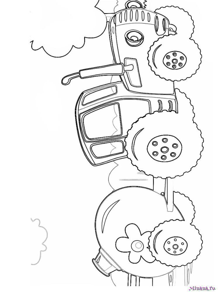 Раскраска Синий трактор 3