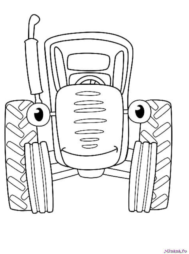 Раскраска Синий трактор