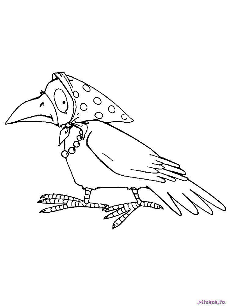 Раскраска ворона 8