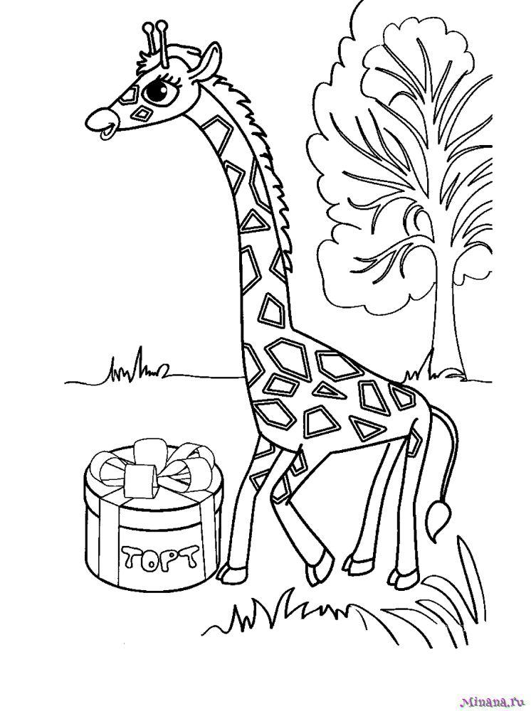 Раскраска жираф с тортом
