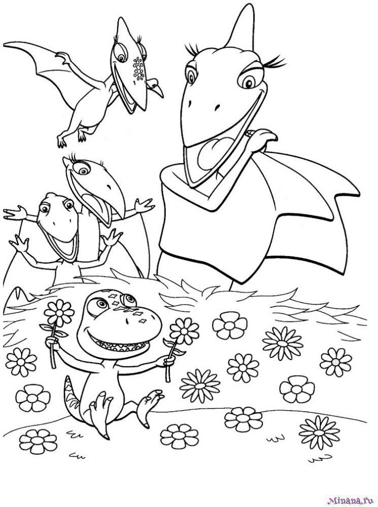 Раскраска поезд динозавров 16