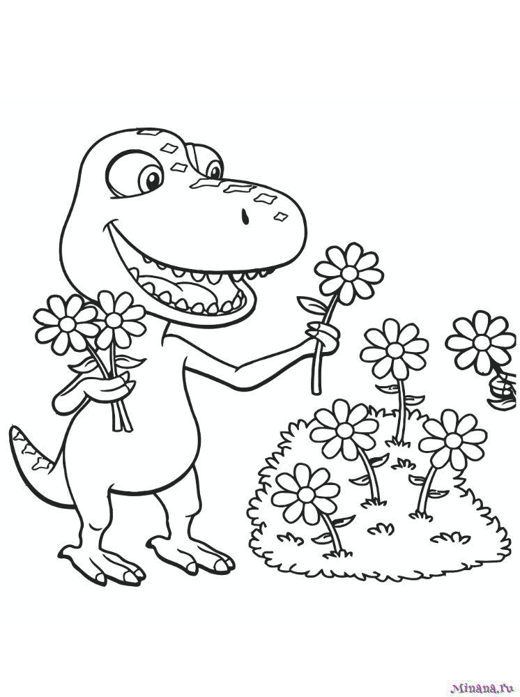 Раскраска поезд динозавров 17