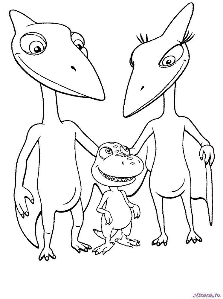Раскраска поезд динозавров 7