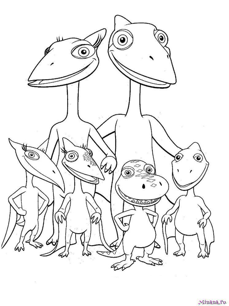 Раскраска поезд динозавров 8