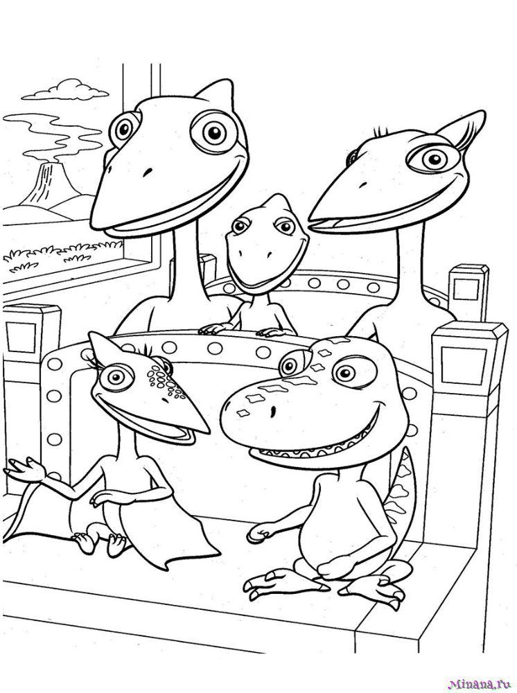 Раскраска поезд динозавров 9